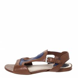 Dior Brown/Blue Leather Open Toe Ankle Strap Flat Sandals Size 38.5 296437