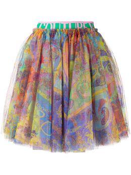 Versace Jeans Couture юбка из тюля с принтом Baroque EA9HZA304ES0828