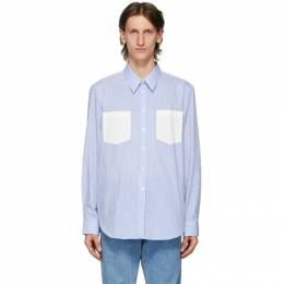 Helmut Lang Blue and White Striped Logo Shirt K04HM508