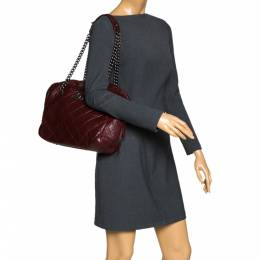 Chanel Burgundy Crinkled Quilted Leather Chain Bowler Bag 296390
