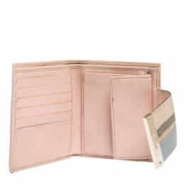 Gucci Beige/Pink GG Canvas French Flap Wallet 296771