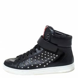 Prada Sport Black Leather Studded Lace Up High Top Sneakers Size 42 296564