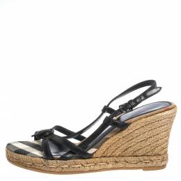 Burberry Black Leather Buckle Embellished Strappy Slingback Wedge Espadrilles Size 38 296408