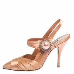 Miu Miu Peach Pleated Satin Crystal Embellished Pointed Toe Slingback Sandals Size 37.5 296510
