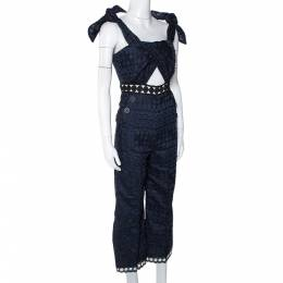 Self-Portrait Navy Blue Embroidered Lace Tie Detail Jumpsuit S 296518