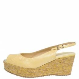 Jimmy Choo Yellow Elaphe Leather Praise Cork Wedge Sandals Size 41 296527