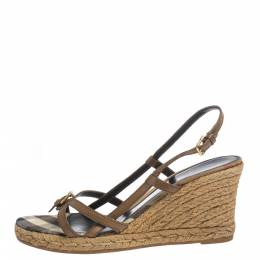 Burberry Brown Criss Cross Leather and Check Canvas Espadrille Wedge Sandals Size 39 296488