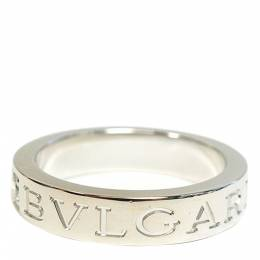 Bvlgari Logo 18K White Gold Diamond Ring Size 49 290343