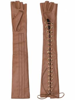 Manokhi длинные перчатки Mano AW20MANO211LONGGLOVESSIRETMIJLOCFARADEGETEBROWN