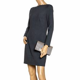 Zac Posen Black/White Gingham Straw and Leather Earthette Clutch 296552