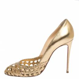 Christian Louboutin Gold Woven Leather Altressita Pumps Size 39 296950
