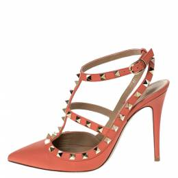 Valentino Peach Leather Rockstud Ankle Strap Sandals Size 38 296774