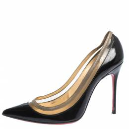 Christian Louboutin Black Patent Leather and PVC Paulina Pointed Toe Pumps Size 36.5 296419