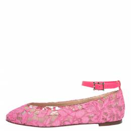 Valentino Pink Lace Ankle Strap Ballet Flats Size 37 296968