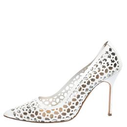 Manolo Blahnik White Laser Cut Leather BB Laserato Pumps Size 39.5 296751