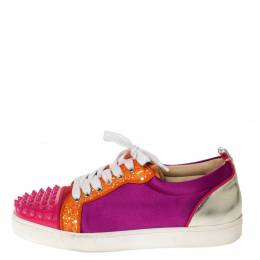 Christian Louboutin Multicolor Satin And Patent Leather Louis Junior Spikes Sneakers Size 39 296829