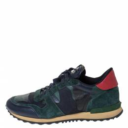 Valentino Blue/Green Camouflage Canvas And Suede Leather Rockrunner Low Top Sneakers Size 43 296826