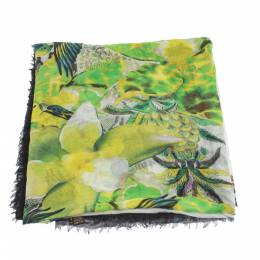 Roberto Cavalli Multicolor Wildlife Printed Cashmere Blend Scarf 296646
