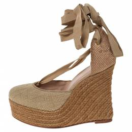Fendi Beige Monogram Canvas And Jute Espadrille Wedge Ankle Wrap Platform Sandals Size 40 296796