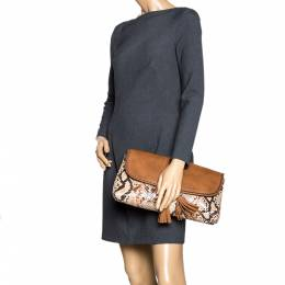 Gucci Brown/Beige Leather and Python Marrakech Clutch 296814