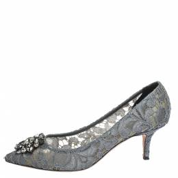 Dolce&Gabbana Grey Crystal Embellished Lace Bellucci Pointed Toe Pumps Size 39 296802