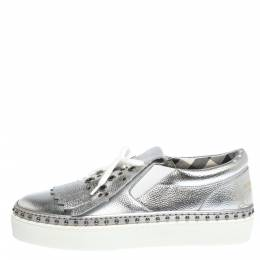 Burberry Metallic Silver Kiltie Fringe Detail Slip On Sneakers Size 37.5 296808
