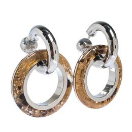 Burberry Caramel Marbled Resin Palladium Plated Double Grommet Earrings 296906