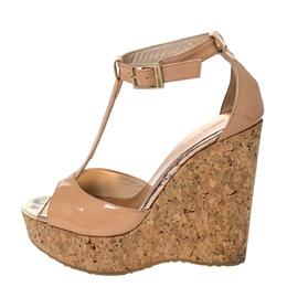 Jimmy Choo Beige Patent Leather Pela Cork Wedge T-Strap Sandals Size 36.5 296588