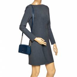 Aigner Navy Blue Leather Flap Crossbody Bag 296589