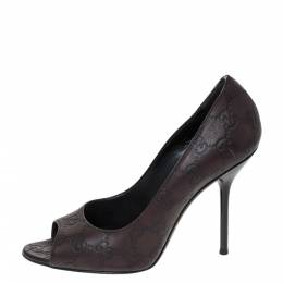 Gucci Brown Guccissima Leather Peep Toe Pumps Size 38 296633
