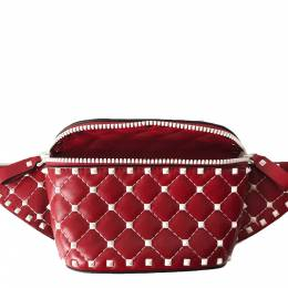 Valentino Red Quilted Leather Rockstud Belt Bag 296893