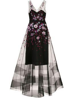 Marchesa Notte вечернее платье из тюля с цветочной отделкой N39G1935