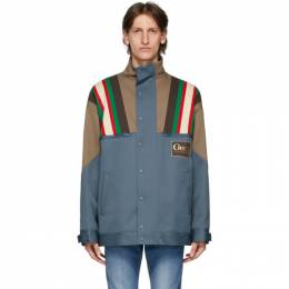 Gucci Blue and Brown Drill 70s Jacket 614483 Z4203