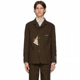 Gucci Brown Cotton Cardboard Labels Jacket 611792 XDA3Y