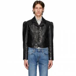 Gucci Black Shiny Leather Jacket 610324 XNAHX