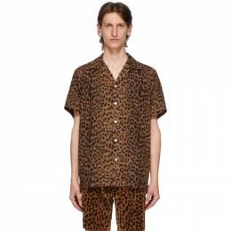 Wacko Maria Brown and Black Open Collar Shirt 20SS-WMS-HI09