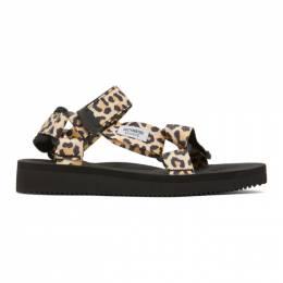 Wacko Maria Beige and Black Suicoke Edition Leopard Beach Sandals SUICOKE-WM-BS03
