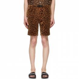 Wacko Maria Brown and Black Velour Leopard Shorts 20SS-WMP-PT11