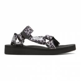 Wacko Maria Grey and Black Suicoke Edition Leopard Beach Sandals SUICOKE-WM-BS03