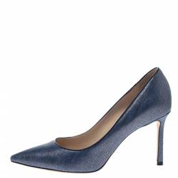 Jimmy Choo Blue Denim Fabric Romy Pointed Toe Pumps Size 37.5 297163