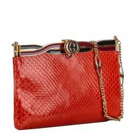 Gucci Red Snakeskin Broadway Shoulder Bag 296756