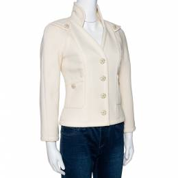 Chanel Cream Wool Button Front Jacket S 296991