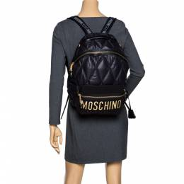Moschino Black Quilted Nylon Logo Backpack 296992