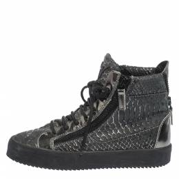 Giuseppe Zanotti Design Python Embossed Leather Double Zip High Top Sneakers Size 41 297106