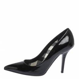 Burberry Black Patent Leather Pointed Toe Pumps Size 39 297134