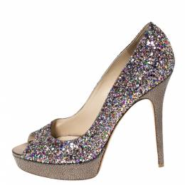 Jimmy Choo Metallic Multicolor Coarse Glitter Crown Peep Toe Platform Pumps Size 40 297123