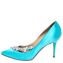 Manolo Blahnik Blue Satin Nadira Crystal Embellished Pointed Toe Pumps Size 36.5 297120
