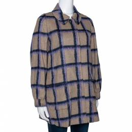 Ch Carolina Herrera Beige Windowpane Checked Wool Coat XS 297062