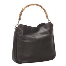 Gucci Black Leather Bamboo Shoulder Bag 296677