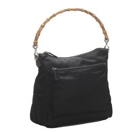Gucci Black Nylon Canvas Bamboo Shoulder Bag 296678